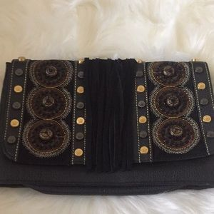 CHRISTIAN AUDIGIER Studded fringed purse clutch